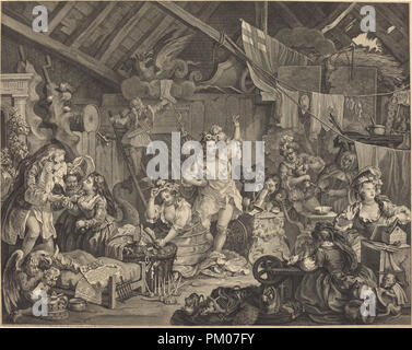 Strolling Actresses Dressing in a Barn. Dated: 1738. Medium: etching and engraving. Museum: National Gallery of Art, Washington DC. Author: William Hogarth. - Stock Photo