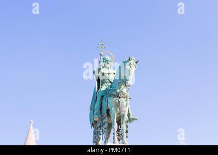King Stephen statue horse fisherman bastion square - Stock Photo