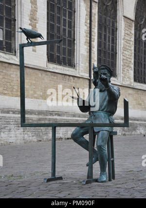 Brussels, Belgium - August 19, 2018: Pieter Bruegel the Elder bronze statue in Brussels, Belgium - Stock Photo