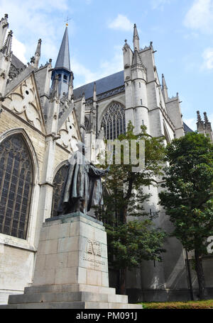 Statue of cardinal Mercier near st. Michaels and st. Gudula cathedral in Brussels, Belgium - Stock Photo