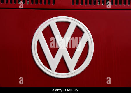 VW Badge on a Volkswagen Camper van. Emblem, logo. Brand. Iconic. Space for copy - Stock Photo