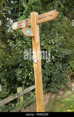 Signpost on the Marriott's Way long-distance footpath / cycleway between Hellesdon and Drayton, Norfolk, UK - Stock Photo