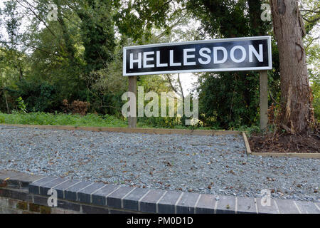 Newly renovated Hellesdon platform, on the old Midland and Great Northern railway, now on Marriott's Way long-distance footpath / cycleway - Stock Photo