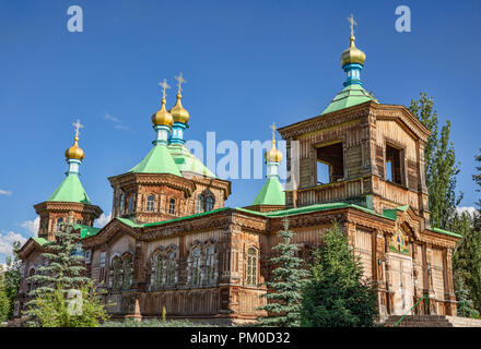 Historical Russian Orthodox Holy Trinity Cathedral in Karakol, Kyrgyzstan. First destroyed in an 1889 earthquake and accompanying fire, - Stock Photo