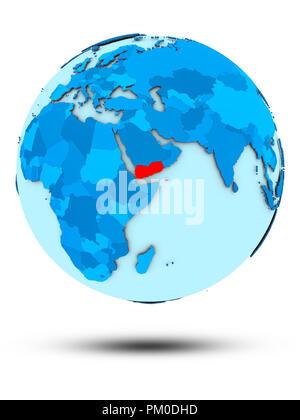 Yemen on blue globe isolated on white background. 3D illustration. - Stock Photo