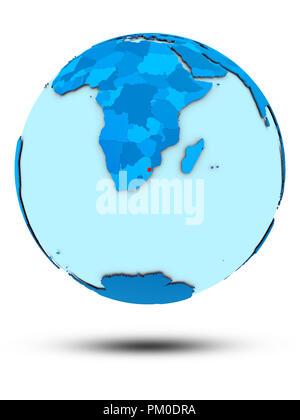 Swaziland on blue globe isolated on white background. 3D illustration. - Stock Photo