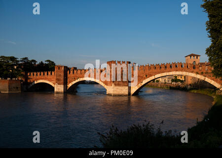 verona italy - castelvecchio bridge - Stock Photo