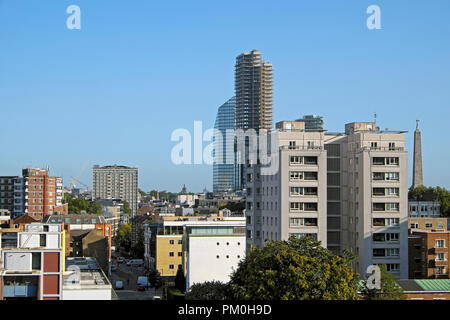 A view north from the Barbican Estate along Golden Lane of 250 City Road and Lexicon highrise apartment buildings in London UK  KATHY DEWITT - Stock Photo