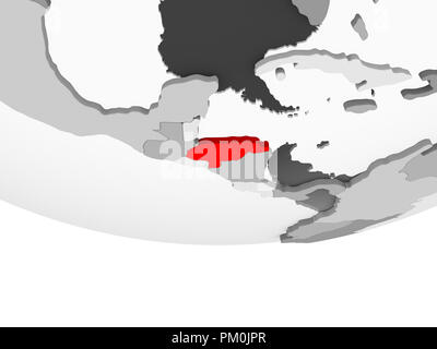 Honduras in red on grey political globe with transparent oceans. 3D illustration. - Stock Photo