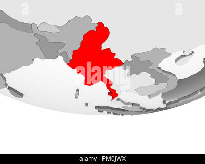 Myanmar in red on grey political globe with transparent oceans. 3D illustration. - Stock Photo