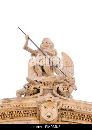 Statue of Saint Michael the Archangel killing the Satan , on the top of St Jacobs cathedral in Sibenik, Croatia, low angle view - Stock Photo