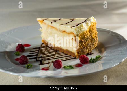 Fresh cheesecake with raspberry berries - Stock Photo