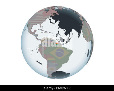 Suriname on political globe with embedded flag. 3D illustration isolated on white background. - Stock Photo
