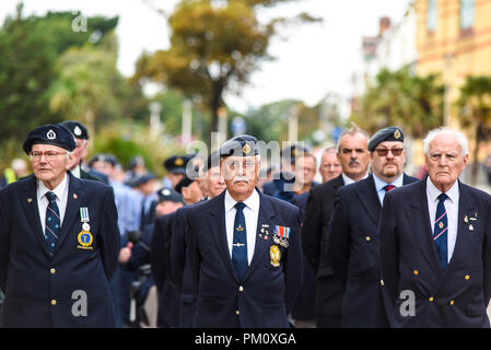 Battle of Britain Day parade. 1312 (Southend on Sea) Squadron Air Cadets led a march from the Royal Naval and Military Club on Royal Terrace to St John's Church, in Southend on Sea, where a service of remembrance was held - Stock Photo