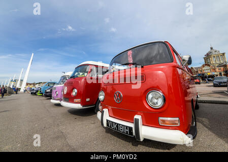Classic cars on the Beach car show took place on Southend seafront. VW Camper, VW Bus. VWs. Volkswagens. Space for copy - Stock Photo