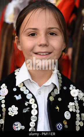 London, UK. 16th Sep, 2018. The 20th anniversary of the annual Pearly Kings and Queens Harvest Festival,Guildhall Yard,London.UK Credit: michael melia/Alamy Live News - Stock Photo