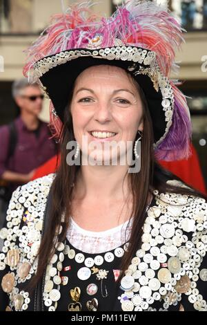 London, UK. 16th Sep, 2018. Pearly Queen,The 20th anniversary of the annual Pearly Kings and Queens Harvest Festival,Guildhall Yard,London.UK Credit: michael melia/Alamy Live News - Stock Photo