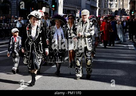 London, UK. 16th Sep, 2018. The 20th anniversary of the annual Pearly Kings and Queens Harvest Festival.The Pearlies paraded from Guildhall Yard to St Mary Le Bow Church for a service of thanksgiving.City of London.UK Credit: michael melia/Alamy Live News - Stock Photo