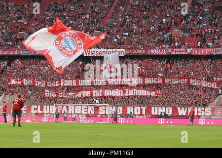 firo: 15.09.2018 Fuvuball, Football: 1.Bundesliga FC Bayern Munich - Bayer 04 Leverkusen, FC Bayern, Munich, Munich, Fans, Choreo | usage worldwide - Stock Photo