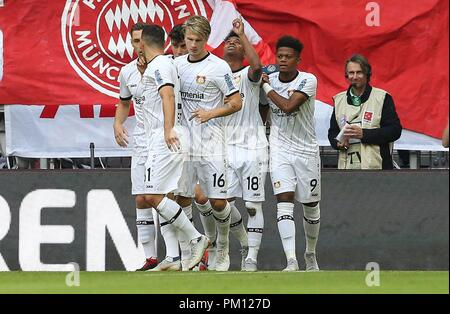 firo: 15.09.2018 Fuvuball, Football: 1.Bundesliga FC Bayern Munich - Bayer 04 Leverkusen, Wendell, Bayer, Leverkusen, jubilation, whole figure | usage worldwide - Stock Photo