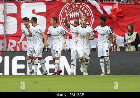 firo: 15.09.2018 Fuvuball, Football: 1.Bundesliga FC Bayern Munich - Bayer 04 Leverkusen, Wendell, Bayer, Leverkusen, jubilation, whole figure | usage worldwide - Stock Photo