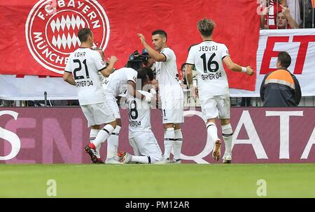 firo: 15.09.2018 Fuvuball, Football: 1.Bundesliga FC Bayern Munich - Bayer 04 Leverkusen, Wendell, Bayer, Leverkusen, jubilation | usage worldwide - Stock Photo