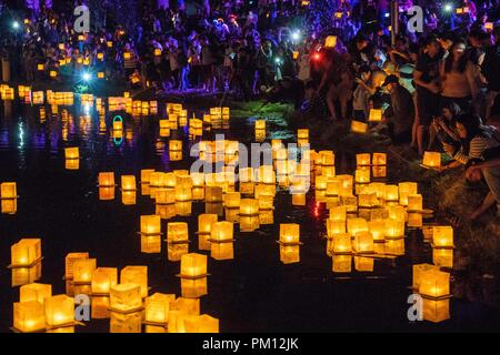 Los Angeles, USA. 15th Sep, 2018. People attend Water Lantern Festival in Los Angeles, the United States, Sept. 15, 2018. Credit: Qian Weizhong/Xinhua/Alamy Live News - Stock Photo