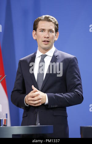 Berlin, Germany. 16 September 2018.  Sebastian Kurz in the Chancellery. Chancellor Angela Merkel will receive Austrian Chancellor Sebastian Kurz on Sunday evening, 16 September, for political talks in the Federal Chancellery. Credit: SAO Struck/Alamy Live News - Stock Photo