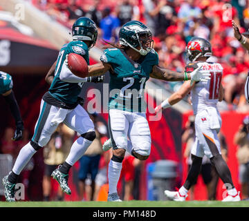 Tampa, Florida, USA. 16th Sep, 2018. Philadelphia Eagles cornerback Ronald Darby (21) celebrates after making the interception in the 1st half during the game between the Philadelphia Eagles and the Tampa Bay Buccaneers at Raymond James Stadium in Tampa, Florida. Del Mecum/CSM/Alamy Live News - Stock Photo