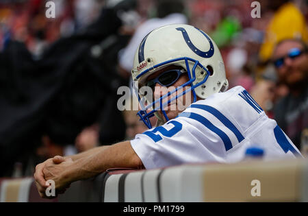 Landover, MD, USA. 16th Sep, 2018. Indianapolis Colts fan during a NFL football game between the Washington Redskins and the Indianapolis Colts at FedEx Field in Landover, MD. Justin Cooper/CSM/Alamy Live News - Stock Photo