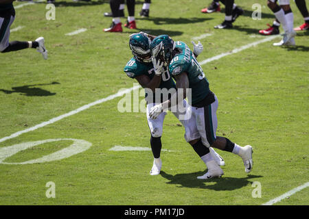 Tampa, Florida, USA. 16th Sep, 2018. Philadelphia Eagles running back Corey Clement (30) celebrates with running back Wendell Smallwood (28) after a touchdown during the second quarter against the Tampa Bay Buccaneer at Raymond James Stadium on Sunday September 16, 2018 in Tampa, Florida. Credit: Travis Pendergrass/ZUMA Wire/Alamy Live News - Stock Photo