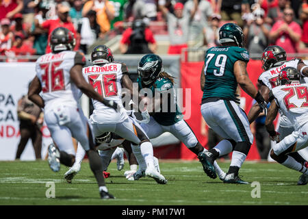 Tampa, Florida, USA. 16th Sep, 2018. Philadelphia Eagles running back Jay Ajayi (26) carries the ball against the Tampa Bay Buccaneersat Raymond James Stadium on Sunday September 16, 2018 in Tampa, Florida. Credit: Travis Pendergrass/ZUMA Wire/Alamy Live News - Stock Photo