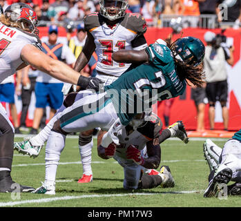 Tampa, Florida, USA. 16th Sep, 2018. Philadelphia Eagles running back Jay Ajayi (26) scores on a 2 yard run in the 3rd quarter during the game between the Philadelphia Eagles and the Tampa Bay Buccaneers at Raymond James Stadium in Tampa, Florida. Del Mecum/CSM/Alamy Live News - Stock Photo