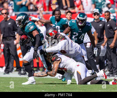 Tampa, Florida, USA. 16th Sep, 2018. Philadelphia Eagles linebacker Jordan Hicks (58) gets tackled after recovering the Tampa fumble during the game between the Philadelphia Eagles and the Tampa Bay Buccaneers at Raymond James Stadium in Tampa, Florida. Del Mecum/CSM/Alamy Live News - Stock Photo