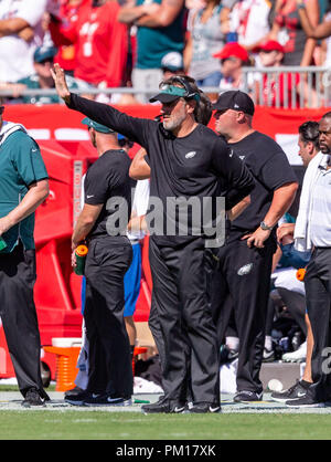 Tampa, Florida, USA. 16th Sep, 2018. Philadelphia Eagles head coach Doug Pederson during the game between the Philadelphia Eagles and the Tampa Bay Buccaneers at Raymond James Stadium in Tampa, Florida. Del Mecum/CSM/Alamy Live News - Stock Photo