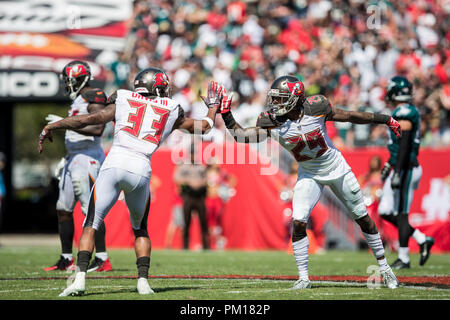 Tampa, Florida, USA. 16th Sep, 2018. Tampa Bay Buccaneers cornerback Ryan Smith (29) celebrates with cornerback Carlton Davis (33) after a broken up pass intended for the Philadelphia Eagles at Raymond James Stadium on Sunday September 16, 2018 in Tampa, Florida. Credit: Travis Pendergrass/ZUMA Wire/Alamy Live News - Stock Photo