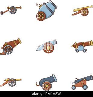Artillery icons set, cartoon style - Stock Photo