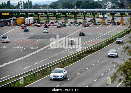 The M4 motorway west-bound toll plaza on the Second Severn Crossing renamed the Prince of Wales Bridge. Tolls are due to be scrapped in December 2018. - Stock Photo