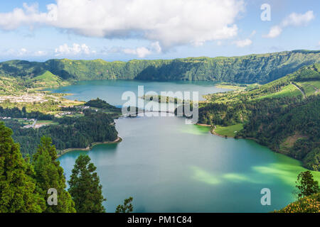 Lagoa das Sete Cidades is a twin lake situated in the crater of a dormant volcano on the Portuguese archipelago of the Azores - Stock Photo
