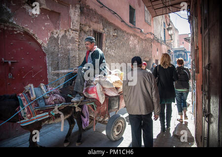 26-02-15, Marrakech, Morocco. Tourists and locals navigate the crowded alleys of the Medina. Photo © Simon Grosset - Stock Photo