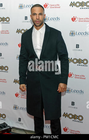 Marvin Humes posing for photographers on the red carpet at the 2017 MOBO Awards. Marvin Humes is a singer, formerly of pop group JLS, and DJ, television presenter and radio host. Humes co-hosted the MOBOs event. - Stock Photo