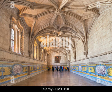 The 16th century Refectory at the Jeronimos Monastery ( Mosteiro dos Jerónimos ), Belem district, Lisbon, Portugal - Stock Photo