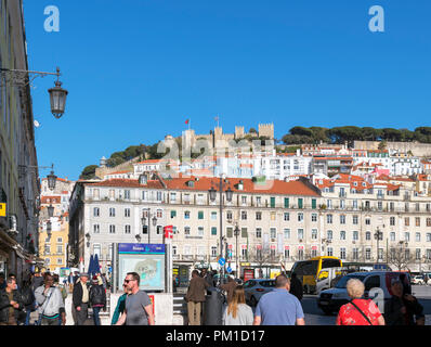 View of the historic Castelo de Sao Jorge from Praça da Figueira, Rossio, Lisbon, Portugal - Stock Photo
