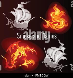 Sketch for a poster on the theme of fire and smoke. Patterns in the form of ships, the dragon and the fiery feather of a fire bird. Vector cartoon close-up illustration. - Stock Photo