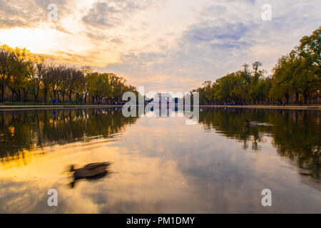 The Abraham Lincoln Memorial from across the Reflecting pool.  Washington DC, USA.  A view of the Lincoln Memorial from across the Reflecting pool. - Stock Photo