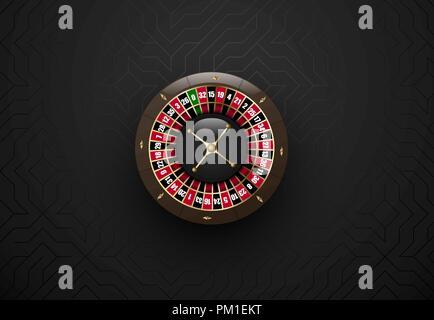 Vector black casino gambling roulette wheel. Dark silk geometric background. Online casino web banner, logo or icon - Stock Photo