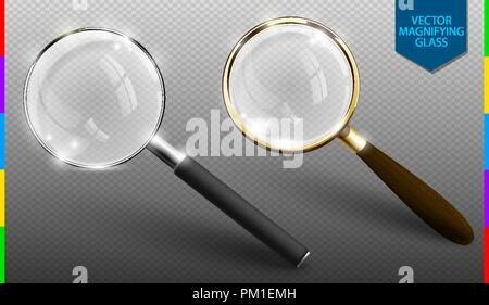 Realistic vector magnifying glass set on transparent background. Isolated icon of retro and modern lupe. - Stock Photo