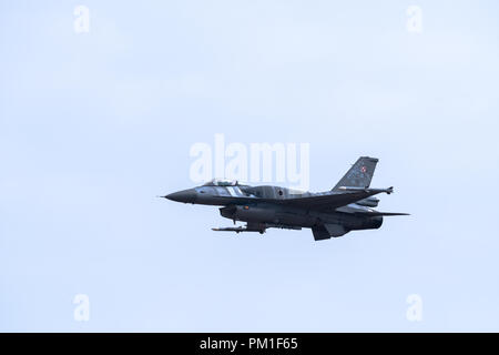 FAIRFORD, UK, JULY 13 2018: A photograph documenting a Polish Air Force Lockheed Martin F-16C Fighting Falcon fighter aircraft displaying at RAF Fairf - Stock Photo