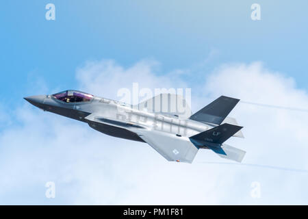 FAIRFORD, UK, JULY 13 2018: A photograph documenting a Lockheed Martin F-35 Lightning II stealth multirole fighter aircraft from the USAF displaying a - Stock Photo