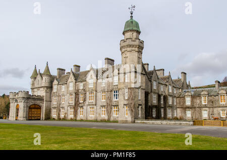 BALMORAL, SCOTLAND, APRIL 2 2016 - A simple front view of Balmoral Castle and country house, bought for Queen Victoria by Prince Albert in 1852 - Stock Photo